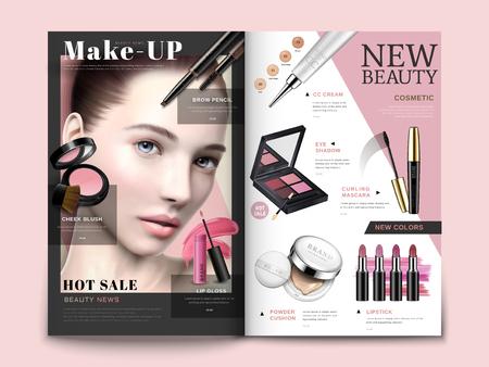 Ilustración de Cosmetic magazine template, trendy cosmetic products with model portrait in 3d illustration, magazine or catalog brochure for design uses - Imagen libre de derechos