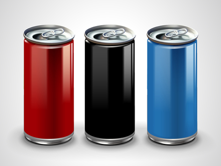 Ilustración de Blank aluminum mockup, three metallic cans for design uses in 3d illustration - Imagen libre de derechos