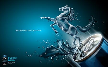 Ilustración de Elegant energy drink ads, liquid horse jumped up from can with splashing beverages in 3d illustration, blue background - Imagen libre de derechos