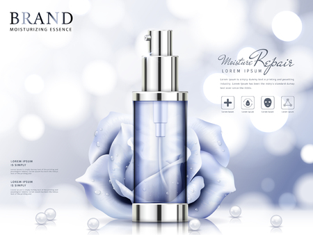 Illustration pour Moisture essence ads, light purple cosmetic skincare product with roses and pearls isolated on bokeh background in 3d illustration - image libre de droit