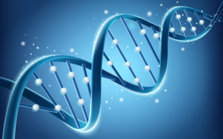 Illustration pour DNA structure design, glitter blue helical structure in 3d illustration isolated on blue background - image libre de droit