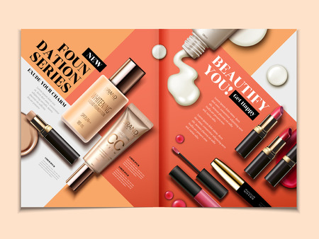 Illustration pour Cosmetic magazine template, top view of lipsticks and foundations isolated on orange tone geometric background in 3d illustration - image libre de droit