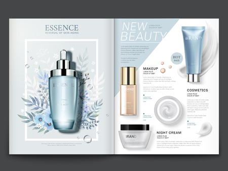Illustration pour Cosmetic magazine template, elegant essence and skincare products with watercolor floral design in 3d illustration - image libre de droit