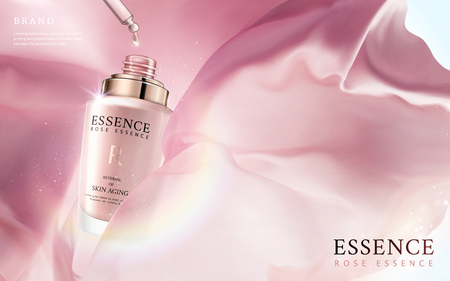 Illustration pour Elegant essence ads, essence oil dripped from pink droplet bottle in 3d illustration, floating silk fabric and glitter spots elements - image libre de droit