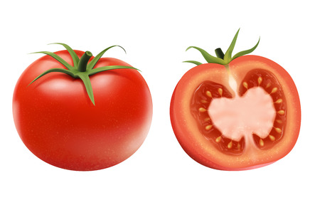 Ilustración de Fresh tomatoes elements, whole and a half isolated on white background - Imagen libre de derechos