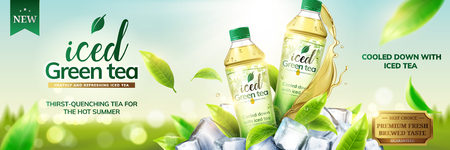Illustration pour Iced green tea ads with bottles on ice cubs and leaves flying around them, 3d illustration on bokeh background - image libre de droit