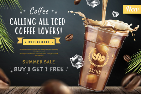 Illustration pour Iced coffee pouring down into a takeaway cup on blackboard background with flying coffee beans in 3d illustration - image libre de droit