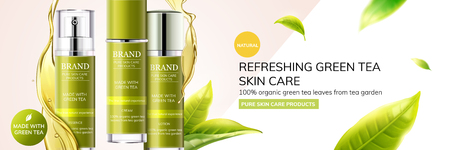 Illustration pour Refreshing green tea skin care products with leaves flying in the air on geometry background, 3d illustration - image libre de droit