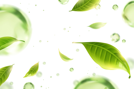 Ilustración de Flying green tea leaves and water drops on white background in 3d illustration - Imagen libre de derechos