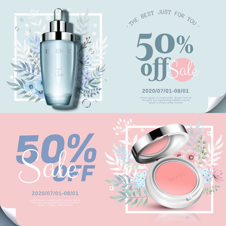 Ilustración de Trendy cosmetic products banner with cheek blush and essence bottle in 3d illustration, watercolor hand drawn floral decorations - Imagen libre de derechos