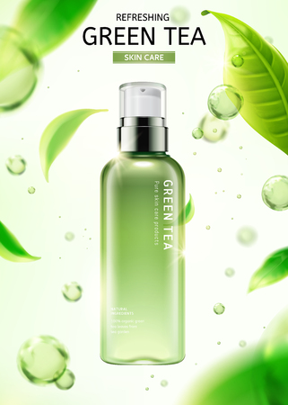 Ilustración de Green tea skin care spray bottle with flying leaves and water drops in 3d illustration on white background - Imagen libre de derechos