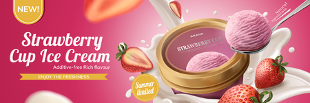 Strawberry cup ice cream ads with milk pouring down from top with fuit on pink background, 3d illustration