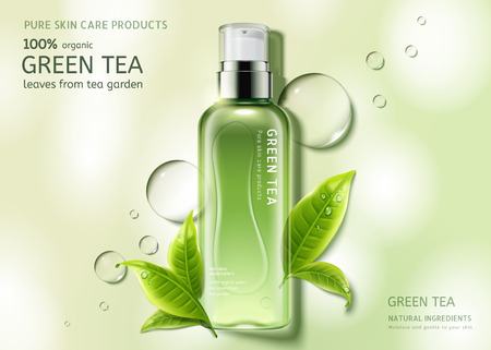 Illustration pour Green tea skin care spray bottle with leaves and water drop elements, top view container in 3d illustration - image libre de droit