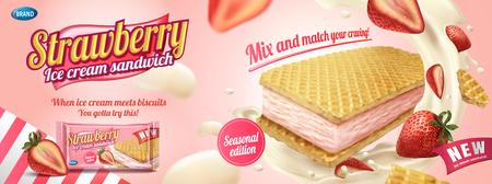 Vektor für Strawberry ice cream sandwich with wafer cookies and splashing cream in 3d illustration, foil bag on light pink background - Lizenzfreies Bild
