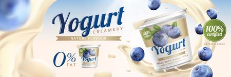 Illustration pour Blueberry yogurt ads with splashing cream and fruit on bokeh background, 3d illustration - image libre de droit