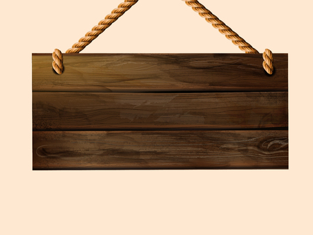 Illustration pour Blank hanging wood plank sign with copy space in 3d illustration - image libre de droit