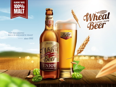 Illustration pour Attractive glass bottle wheat beer with hops on wooden table, bokeh golden wheat field in 3d illustration - image libre de droit