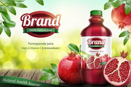 Illustration pour Pomegranates bottled juice ads with fresh fruit on wooden table in 3d illustration - image libre de droit