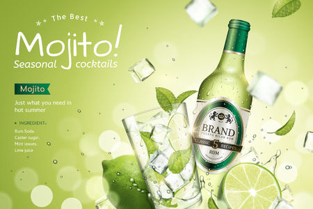 Illustration pour Mojito seasonal cocktails ads with refreshing fruit and ice cubes flying in the air on green glitter bokeh background, 3d illustration - image libre de droit