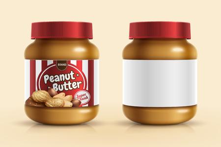 Ilustración de Peanut butter spread mockup template with blank label in 3d illustration - Imagen libre de derechos