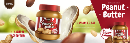 Illustration for Peanut butter spread appeared from nut pod in 3d illustration, bokeh background - Royalty Free Image