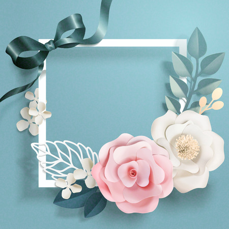 Illustration pour Romantic floral paper art and frame in blue tone, 3d illustration - image libre de droit