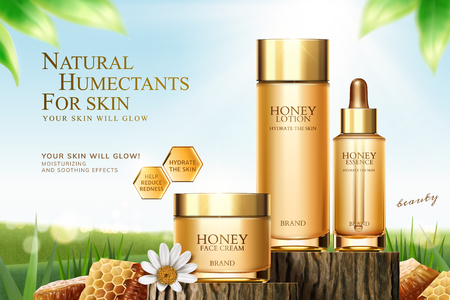 Illustration pour Honey skincare ads on cut tree trunk with honeycomb in 3d illustration, bokeh green field background - image libre de droit