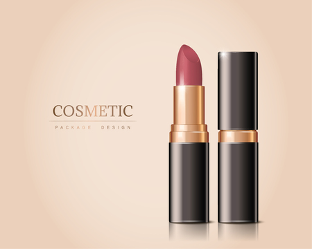 Illustration pour Luxury lipstick isolated on cream color background in 3d illustration - image libre de droit