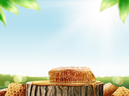 Illustration pour Honeycomb and honey on cut tree trunk in 3d illustration, bokeh green field background - image libre de droit