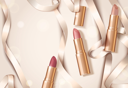 Illustration pour Rose gold package lipsticks with ribbons in flat lay, 3d illustration design with copy space - image libre de droit
