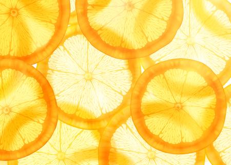 Illustration for Translucent sliced orange background for design uses - Royalty Free Image