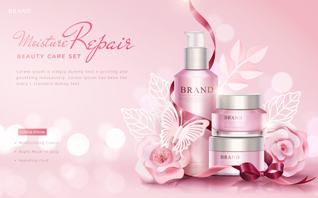 Illustration for Beauty care set ads with paper art flowers and butterflies on selective focus pink background, 3d illustration - Royalty Free Image
