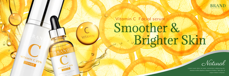 Illustration for Vitamin C essence banner ads with translucent sliced orange and droplet bottle, 3d illustration - Royalty Free Image