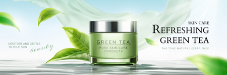 Illustration for Refreshing green tea skin care banner ads with flying leaves and chiffon element in 3d illustration - Royalty Free Image
