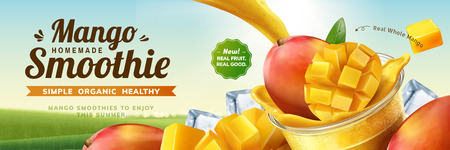 Illustration pour Mango smoothie banner ads with splashing beverage pouring into take out cup in 3d illustration on bokeh nature background - image libre de droit