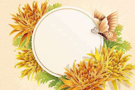 Illustration pour Chrysanthemum and butterfly decorations poster with copy space for greeting words - image libre de droit
