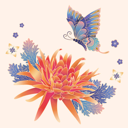 Illustration pour Elegant chrysanthemum and butterfly in gradient colors for design uses - image libre de droit