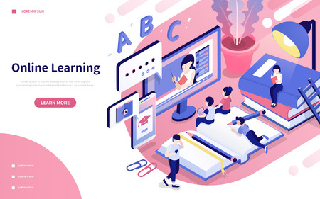 Ilustración de Online learning 3d isometric style illustration in pink and purple - Imagen libre de derechos