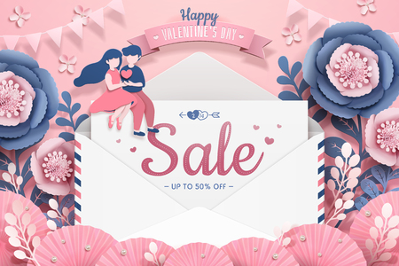 Illustration pour Happy Valentine's Day with love letter and dating couple in paper flower garden, 3d illustration - image libre de droit