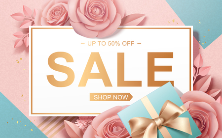 Illustration for Valentine's Day Sale with paper roses and gift boxes in 3d illustration - Royalty Free Image