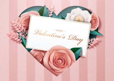 Illustration for Happy Valentine's Day with paper blossoms and card template in 3d illustration - Royalty Free Image
