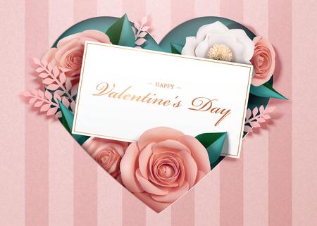 Ilustración de Happy Valentine's Day with paper blossoms and card template in 3d illustration - Imagen libre de derechos