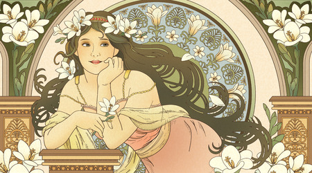 Illustration for Mucha style goddess holding freesia and leaning on beautiful coloum - Royalty Free Image