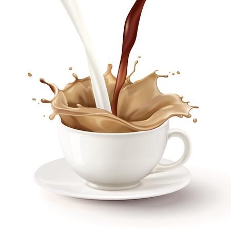Vektor für Milk tea pouring down into white mug, 3d illustration - Lizenzfreies Bild