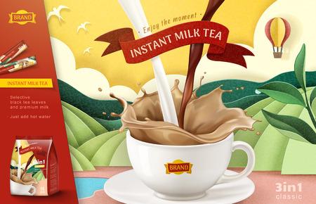 Vektor für Instant milk tea ads on paper art terraced field background, 3d illustration - Lizenzfreies Bild