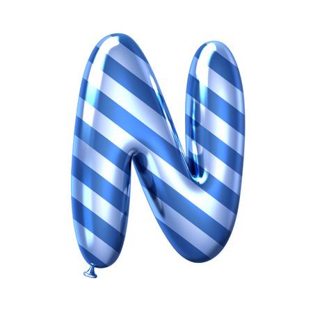 Foto de 3D render blue stripe balloon alphabet N isolated on white background - Imagen libre de derechos