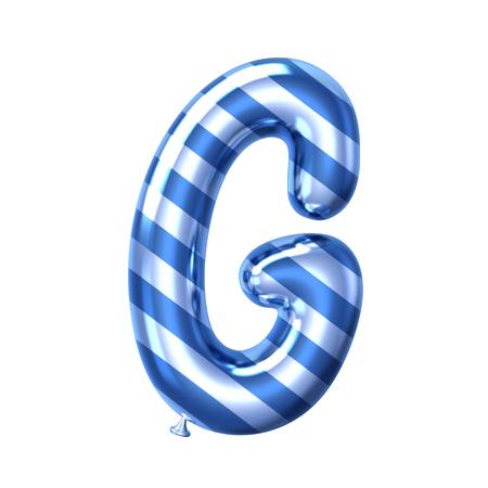 3D render blue stripe balloon alphabet G isolated on white background