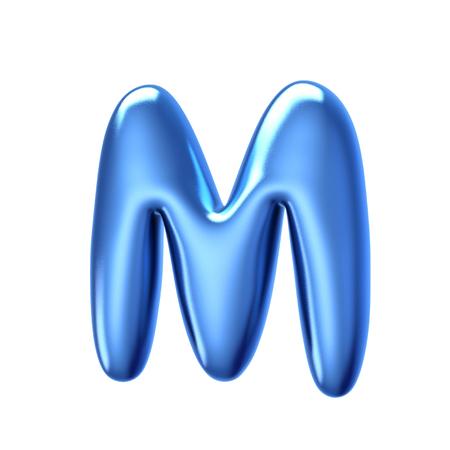 Photo pour 3D render blue jelly liquid alphabet M isolated on white background - image libre de droit