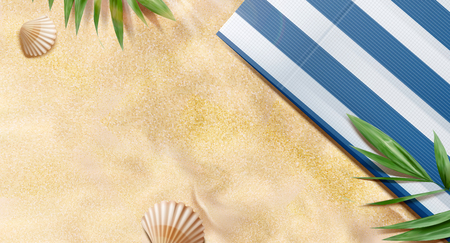 Illustration for Top view summer beach with tropical plants and striped blanket in 3d illustration - Royalty Free Image
