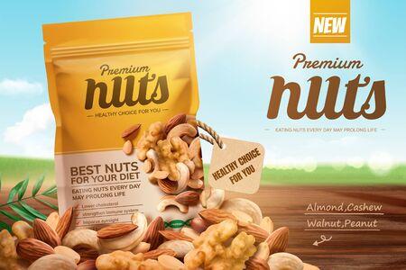 Ilustración de Premium nuts ads on bokeh blue sky and wooden table in 3d illustration - Imagen libre de derechos